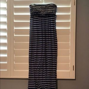 Strapless maxi dress navy blue w/ white stripes